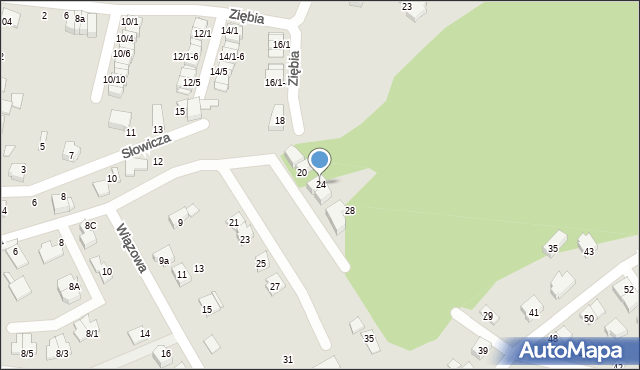 Mikołów, Ziębia, 24, mapa Mikołów