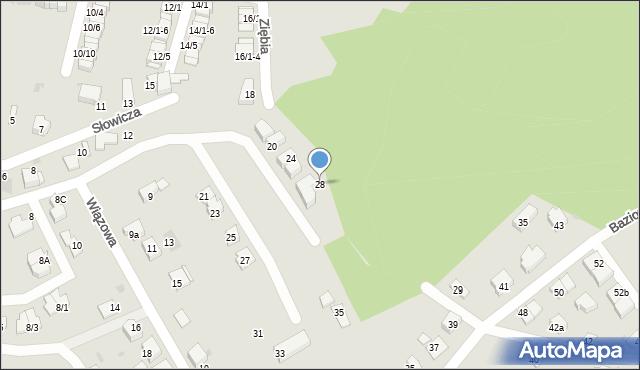 Mikołów, Ziębia, 28, mapa Mikołów