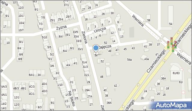 Radom, Zielona, 54, mapa Radomia