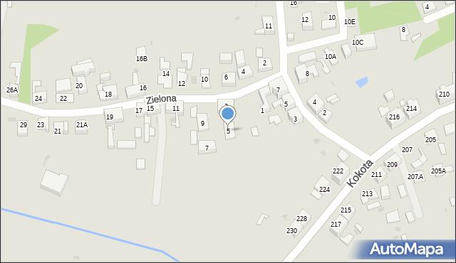 Ruda Śląska, Zielona, 5, mapa Rudy Śląskiej