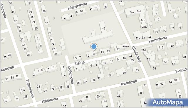 Toruń, Zielna, 11, mapa Torunia