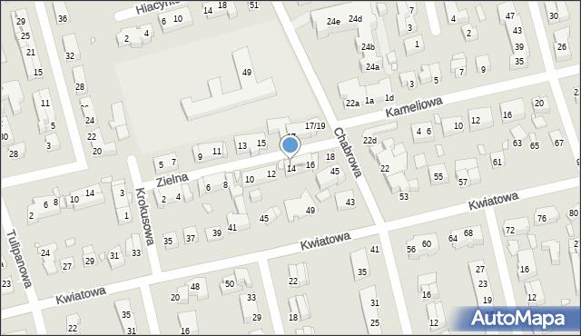 Toruń, Zielna, 14, mapa Torunia