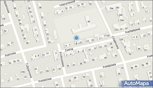 Toruń, Zielna, 9, mapa Torunia