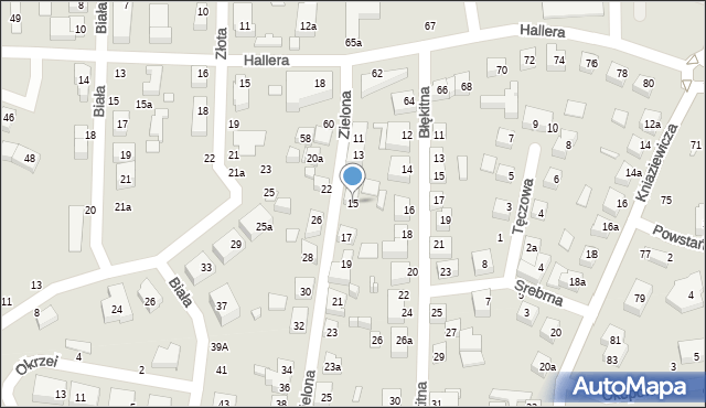 Toruń, Zielona, 15, mapa Torunia