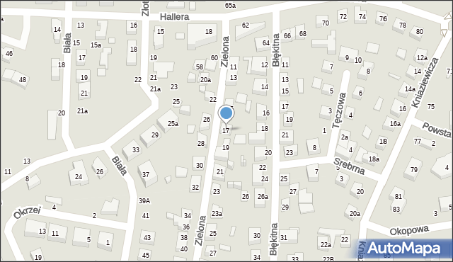 Toruń, Zielona, 17, mapa Torunia