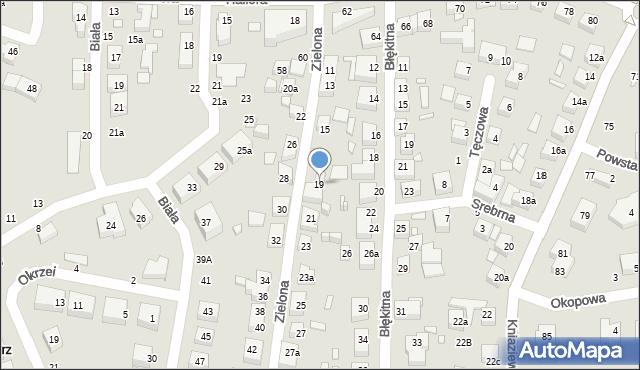 Toruń, Zielona, 19, mapa Torunia