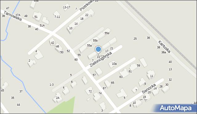 Toruń, Zielonogórska, 11, mapa Torunia