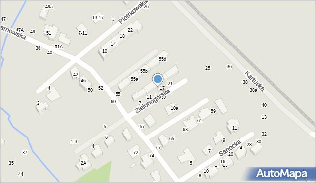 Toruń, Zielonogórska, 15, mapa Torunia