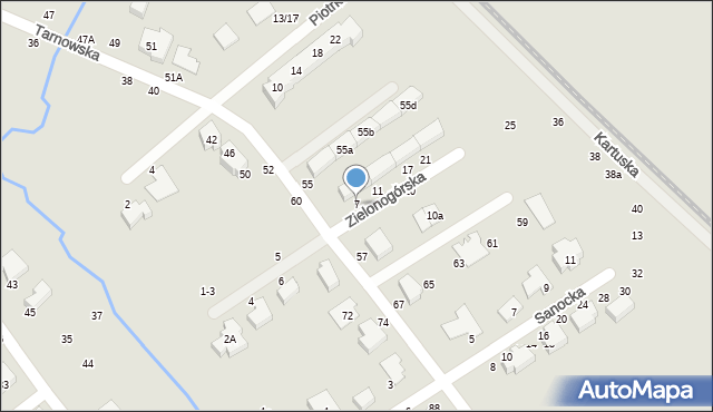 Toruń, Zielonogórska, 7, mapa Torunia