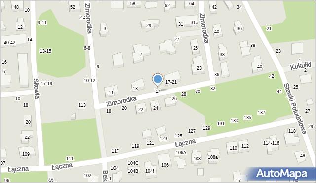 Toruń, Zimorodka, 17, mapa Torunia