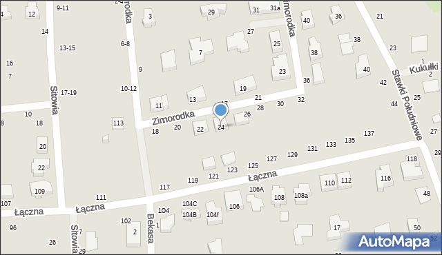 Toruń, Zimorodka, 24, mapa Torunia