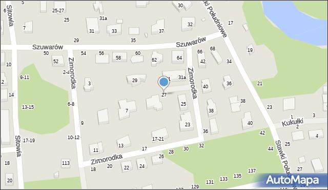 Toruń, Zimorodka, 27, mapa Torunia