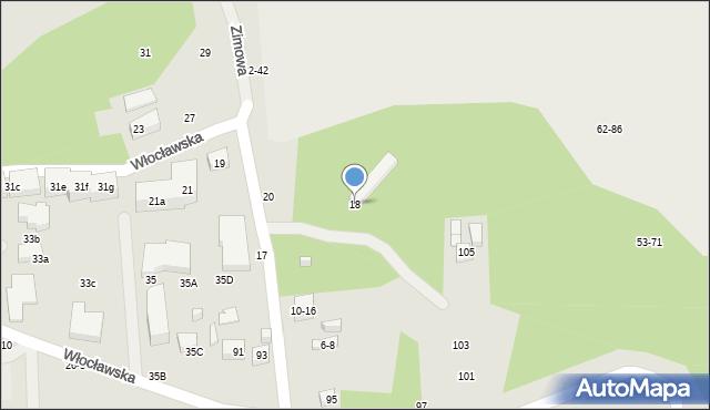 Toruń, Zimowa, 18, mapa Torunia