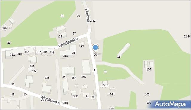 Toruń, Zimowa, 20, mapa Torunia