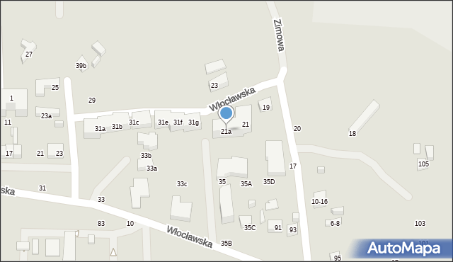 Toruń, Zimowa, 21a, mapa Torunia