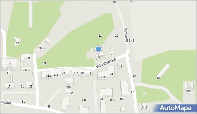 Toruń, Zimowa, 23, mapa Torunia