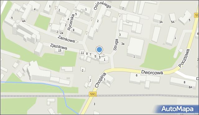 Kętrzyn, Zjazdowa, 3, mapa Kętrzyn