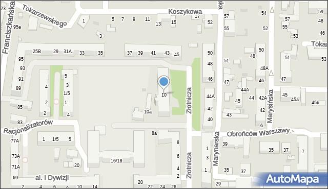 Łódź, Złotnicza, 10, mapa Łodzi