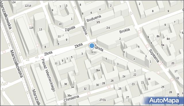 Warszawa, Złota, 1, mapa Warszawy