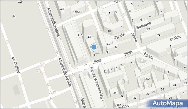 Warszawa, Złota, 8, mapa Warszawy