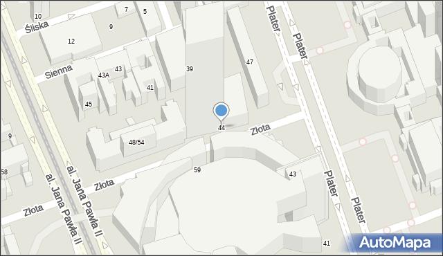 Warszawa, Złota, 44, mapa Warszawy