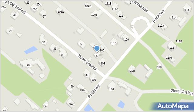Warszawa, Złotej Jesieni, 37, mapa Warszawy