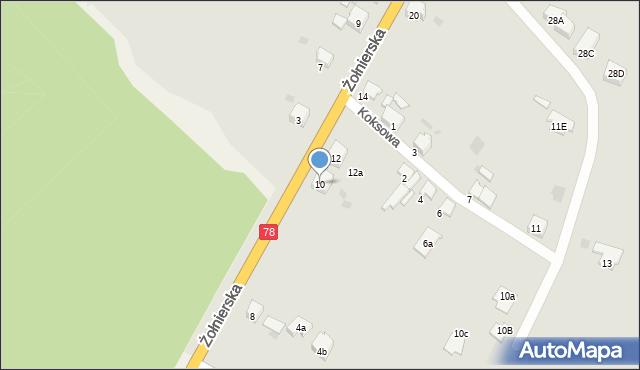 Bytom, Żołnierska, 10, mapa Bytomia