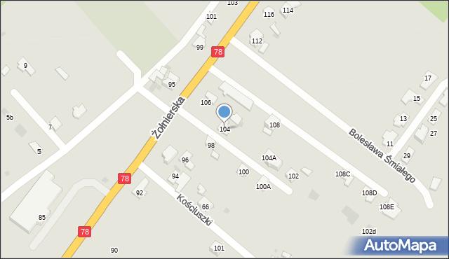 Bytom, Żołnierska, 104, mapa Bytomia