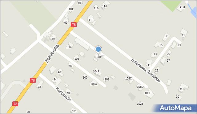 Bytom, Żołnierska, 108, mapa Bytomia