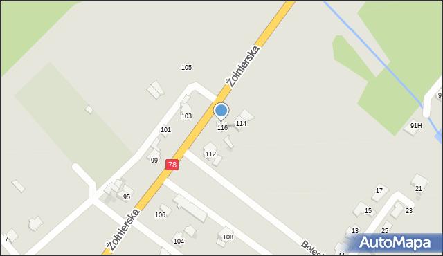 Bytom, Żołnierska, 116, mapa Bytomia