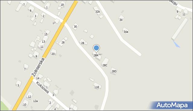 Bytom, Żołnierska, 28b, mapa Bytomia