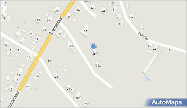 Bytom, Żołnierska, 34, mapa Bytomia