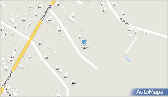Bytom, Żołnierska, 34a, mapa Bytomia