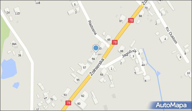 Bytom, Żołnierska, 61, mapa Bytomia