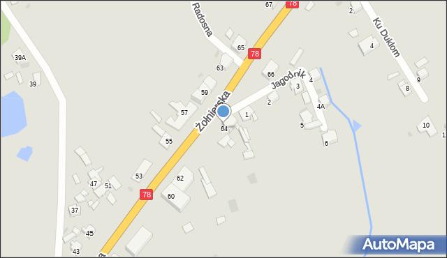 Bytom, Żołnierska, 64, mapa Bytomia