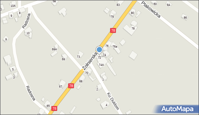 Bytom, Żołnierska, 72, mapa Bytomia