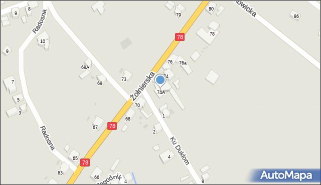 Bytom, Żołnierska, 74A, mapa Bytomia