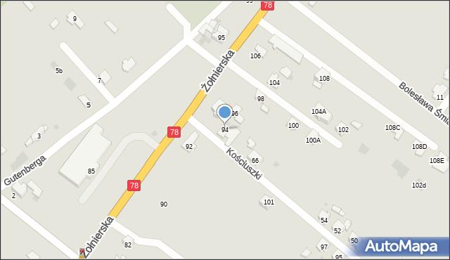 Bytom, Żołnierska, 94, mapa Bytomia
