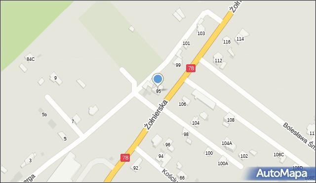 Bytom, Żołnierska, 95, mapa Bytomia