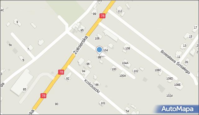 Bytom, Żołnierska, 98, mapa Bytomia