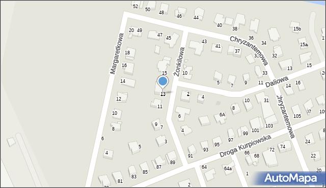 Grudziądz, Żonkilowa, 13, mapa Grudziądza