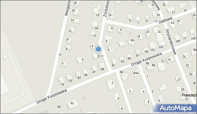 Grudziądz, Żonkilowa, 3, mapa Grudziądza
