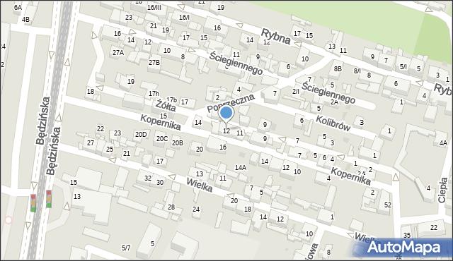 Sosnowiec, Żółta, 12, mapa Sosnowca