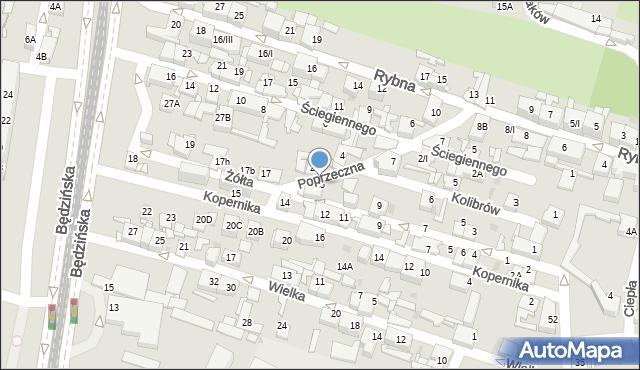 Sosnowiec, Żółta, 15, mapa Sosnowca