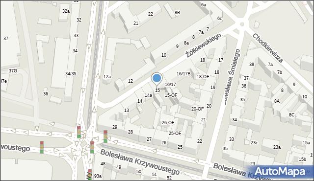 Szczecin, Żółkiewskiego Stanisława, hetm., 15, mapa Szczecina