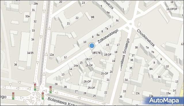 Szczecin, Żółkiewskiego Stanisława, hetm., 16B, mapa Szczecina