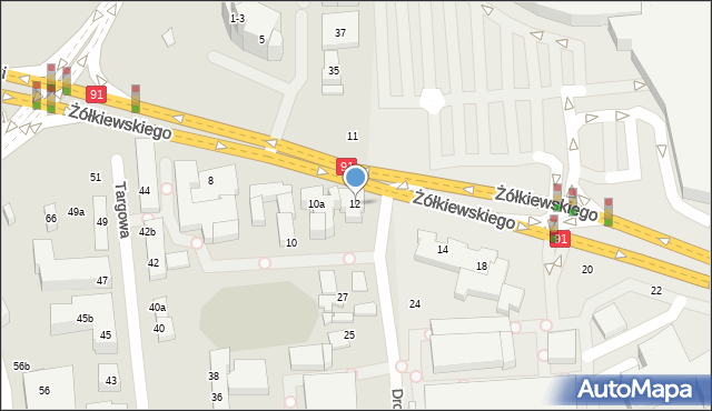 Toruń, Żółkiewskiego, 12, mapa Torunia