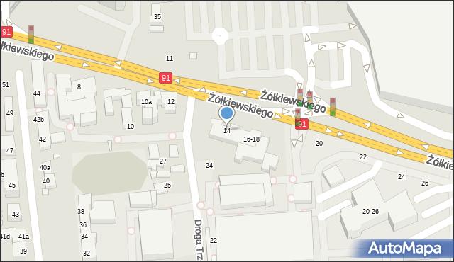 Toruń, Żółkiewskiego, 14, mapa Torunia