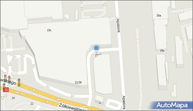 Toruń, Żółkiewskiego, 17, mapa Torunia