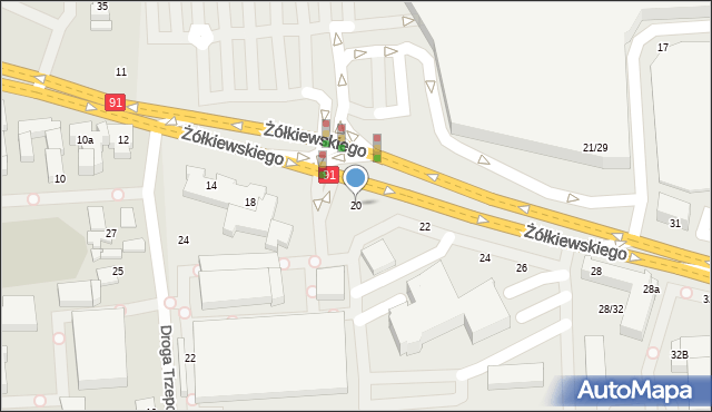 Toruń, Żółkiewskiego, 20, mapa Torunia